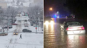 Two people have died as a result of a severe storm system that caused blizzard conditions in the US Midwest and torrential rain and flood threats in the south.