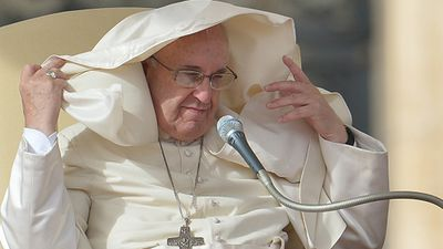 This is the second time this year that Pope Francis has battled the Vatican winds. (Getty)