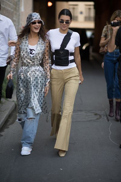 Bella Hadid and Kendall Jenner seen before the Off White Fashion show in the streets of Paris during Paris Fashion Week