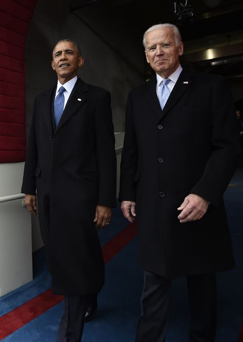Then president Barack Obama and then vice president Joe Biden arrive on Capitol Hill in Washington, for the 2017 presidential inauguration of Donald Trump.