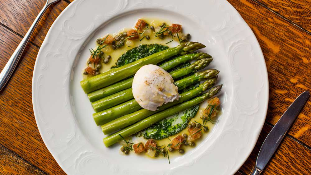 Bistrot Gavroche's green asparagus with grenobloise sauce and fresh herb coulis