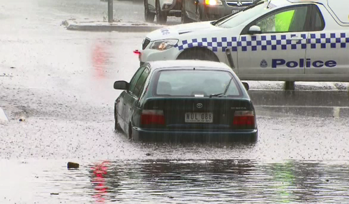 The York Street underpass flooded during the storms. (9NEWS)