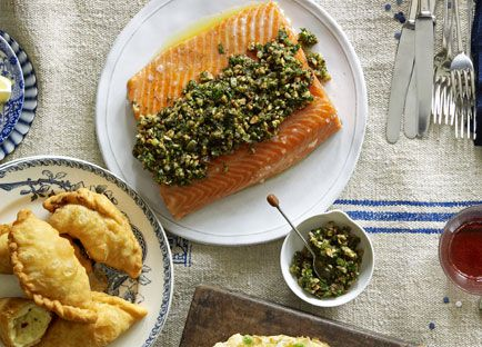 Slow-roasted ocean trout with walnut and coriander salsa