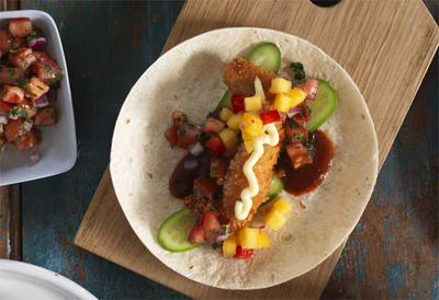 Soft fish tacos with mango salsa