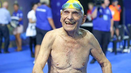 George Corones turns 100 in April. (Image: Australian Dolphins Swim Team)
