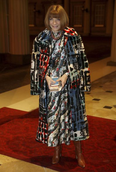 Anna Wintour of American Vogue magazine poses as she arrives for the Commonwealth Fashion Exchange Reception at Buckingham Palace to showcase the new creative initiative entitled the Commonwealth Fashion Exchange, in London, Monday Feb. 19, 2018.