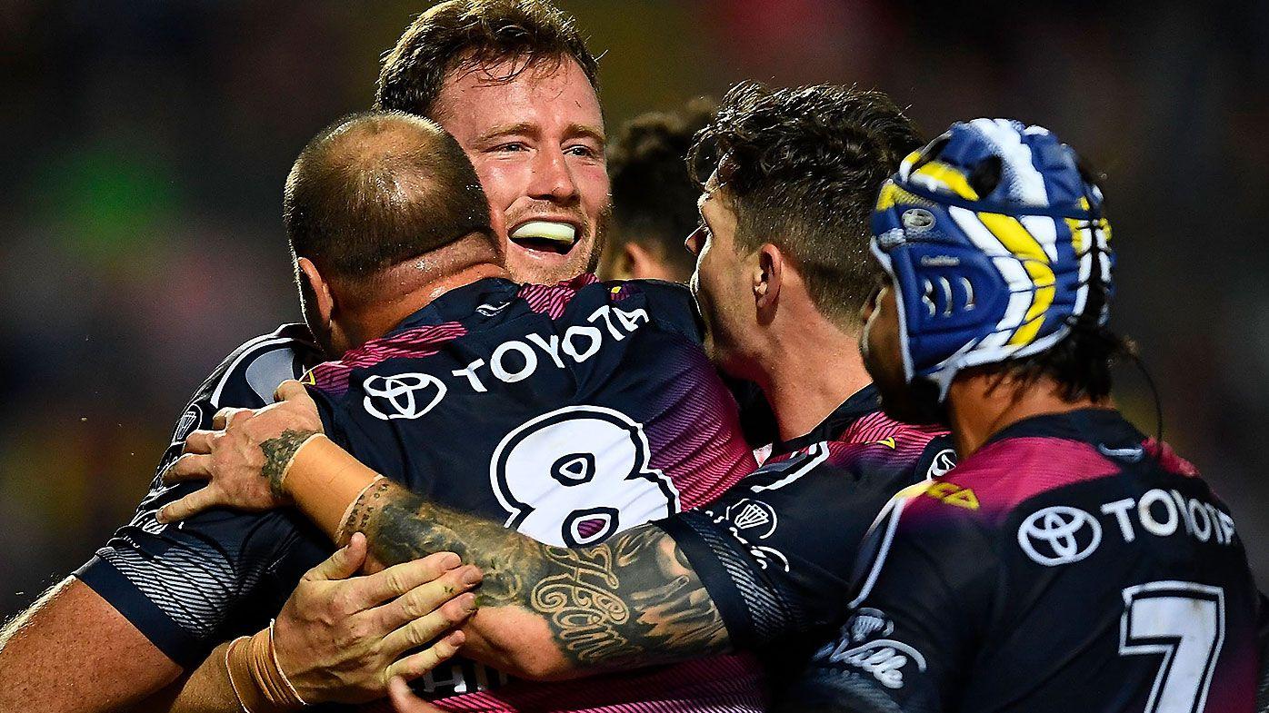 Gavin Cooper celebrates a try