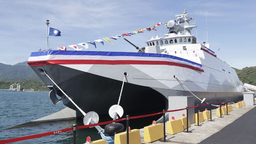 The new domestically made Taiwanese warship was docked after its commissioning ceremony.