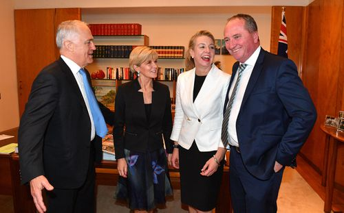 Prime Minister Malcolm Turnbull, Minister for Foreign Affairs Julie Bishop Nationals Deputy Leader Bridget McKenzie and Deputy Prime Minister Barnaby Joyce. (AAP)