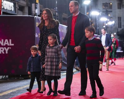 Prince William and Kate Middleton walk the red carpet with their kids, December