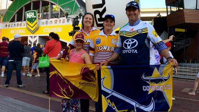 <p>Some Queensland supporters, including the Lush family, have been divided by their Broncos and Cowboys allegiances. The Lush family drove from Gunnedah to Sydney to attend the team signing session.</p><p>(9NEWS / Darren Curtis)</p>