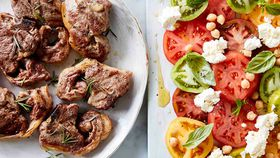 Lamb loin chops with heirloom tomato salad