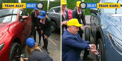 Ally Langdon and Karl Stefanovic wanted to see who could change a tyre faster.