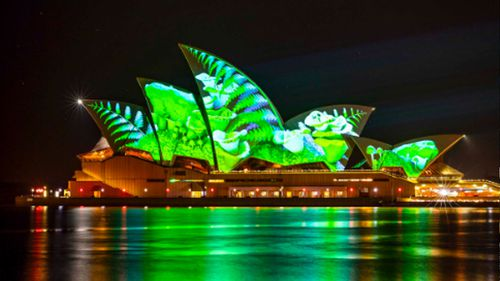 The sails of the Sydney Opera House lit up for the 2018 Vivid festival. (Destination NSW)