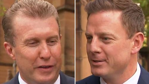 Nine's Peter Overton and Ben Fordham attended the funeral.