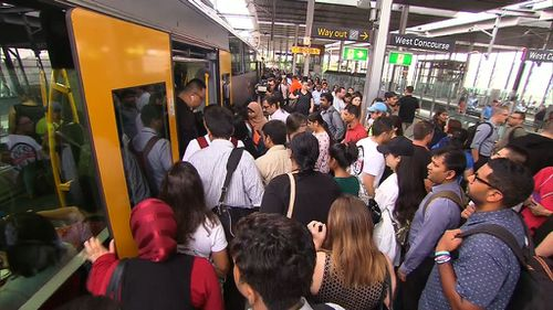 Police officers have been assisting rail staff at train stations. (9NEWS)