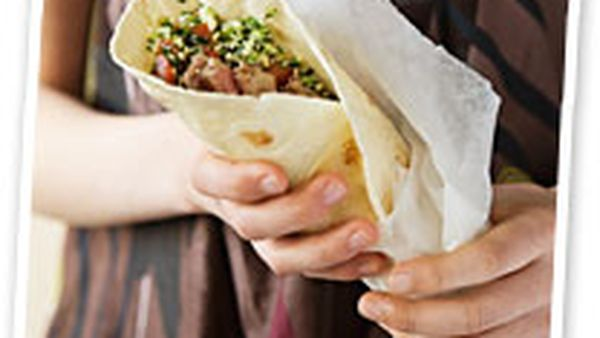 Marinated lamb wraps with tabouli