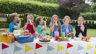 Kids at birthday party having fun