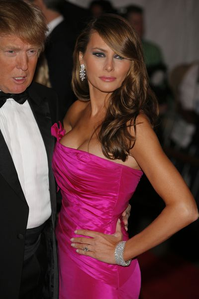 Melania Trump in Vera Wang at the 2008 Met Gala,&nbsp;<em>Superheroes: Fashion and Fantasy</em>.