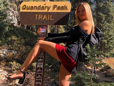American hiker Erin Ton is climbing mountains in heels.