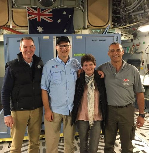 Dr Harris, second left, with his wife Fiona, WA diver Craig Challen and, at left, Medstar boss Andrew Pearce at RAAF Base Edinburgh. Picture: Facebook