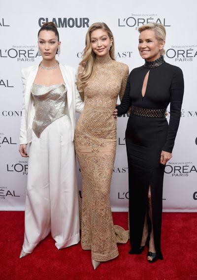 Bella Hadid, Gigi Hadid and Yolanda Foster at the Glamour Women of the Year Awards, November 13.