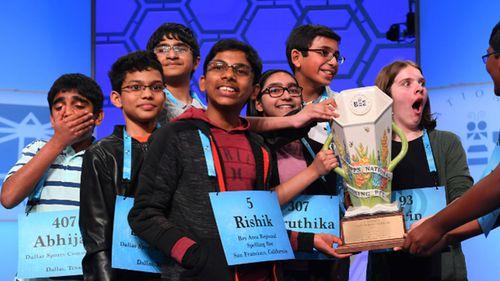 Rishik Gandhasri, Erin Howard, Saketh Sundar, Shruthika Padhy, Sohum Sukhatankar, Abhijay Kodali, Christopher Serrao and Rohan Raja are all announced as winners during the 2019 Scripps National Spelling Bee.