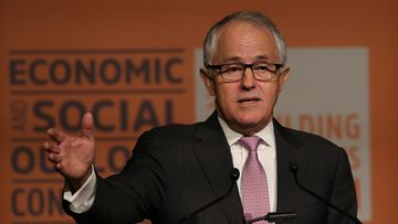 Mr Turnbull at the conference in Melbourne today. (AAP)