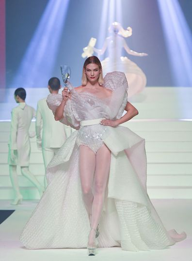Karlie Kloss walks the runway during the Jean-Paul Gaultier Haute Couture Spring/Summer 2020 fashion show as part of Paris Fashion Week at Theatre Du Chatelet on January 22, 2020 in Paris, France.