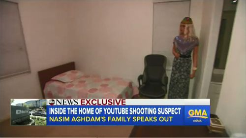 The inside of Aghdam's bedroom was also revealed in the interview, showing a near-empty room where she filmed her videos. Picture: ABC News.
