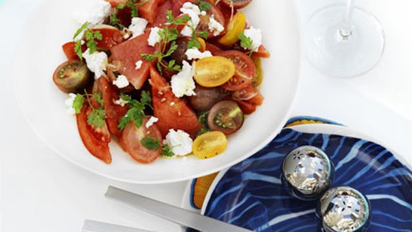 Watermelon, tomato and goat's cheese salad