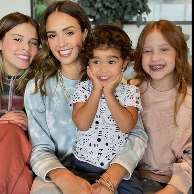Jessica Alba poses with her three children.