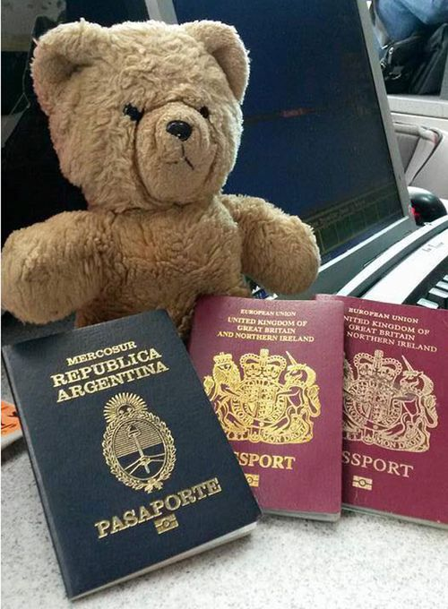 Pooh with his passports. (Scott Cranmer/ Facebook)