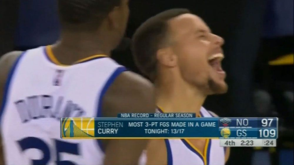 Curry breaks NBA three-pointer record with 13 in one match
