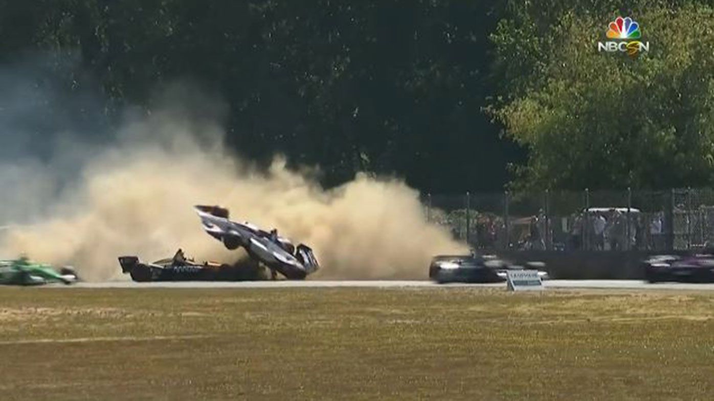 Marco Andretti was lucky to walk away from this accident on the opening lap of the IndyCar race in Portland