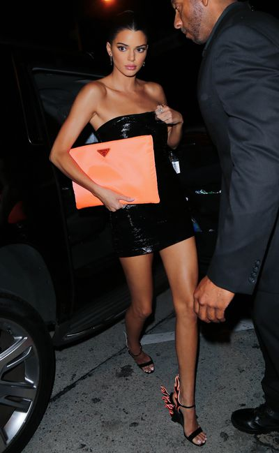 Kendall Jenner in Bec & Bridge and Prada heels and clutchat the 21st birthday celebrations of Kylie Jenner
