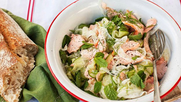 Roast salmon with pickled fennel, cucumber and mint salad