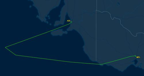 The flight was forced to divert to Adelaide after taking off from Melbourne. Picture: FlightAware24