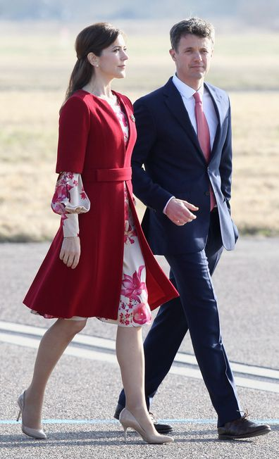 Princess Mary recycles red coat but now with a shorter hem