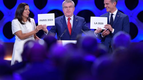 IOC President Thomas Bach announces Paris and Los Angeles as hosts of 2024, 2028 Olympic Games. (AFP)