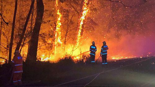 The fire in Currowan, north of Batemans Bay.