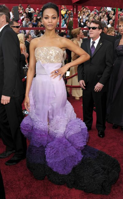Actress Zoe Saldana at the 82nd Annual Academy Awards in Hollywood in 2010.