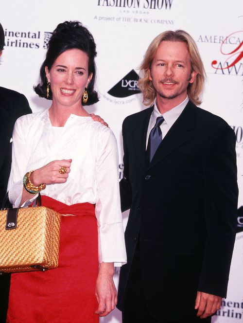The handbag mogul with her Hollywood actor brother-in-law David Spade. Picture: AAP
