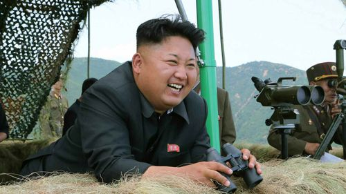 North Korean leader Kim Jong-un at a live-fire drill by a North Korean artillery unit near the eastern border with South Korea. (AAP)