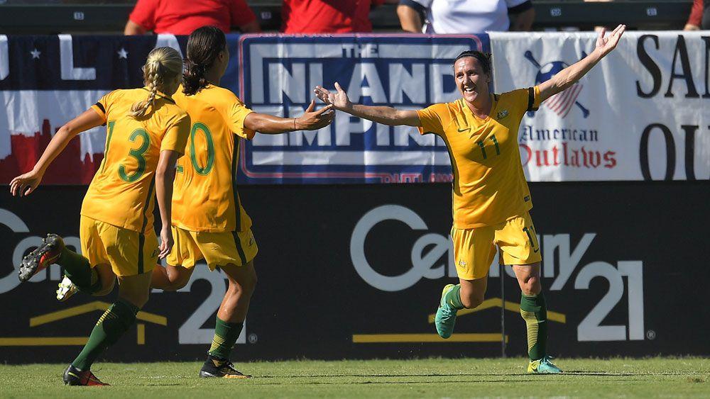 Lisa De Vanna celebrates breaking the Matildas' goal scoring record. (AAP)