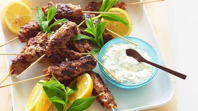 """<a href=""""http://kitchen.nine.com.au/2016/05/16/19/22/beef-kofta-with-mint-yogurt"""" target=""""_top"""">Julie Goodwin's beef kofta with mint yogurt<br> </a>"""
