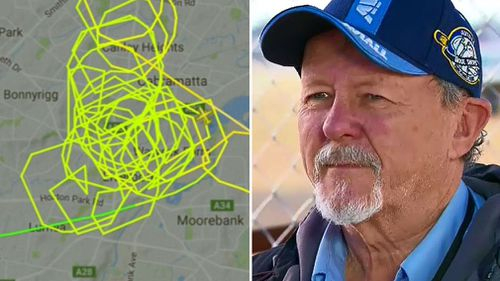 The plane's flight path and Wagga Air Centre managing director Chris Cabot. (9NEWS)