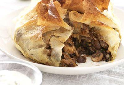 Baharat-spiced mushroom pie