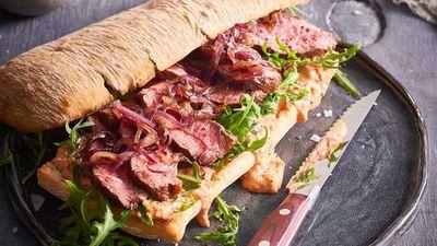 "<a href=""http://kitchen.nine.com.au/2017/05/12/11/07/dan-churchill-flat-iron-steak-sandwich-with-caramelised-onions"" target=""_top"">Dan Churchill's flat iron steak sandwich with caramelised onions</a><br /> <br /> <a href=""http://kitchen.nine.com.au/2017/05/12/11/43/best-ever-steak-sandwich-recipes"" target=""_top"">More steak sangas</a>"