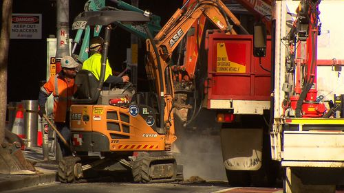 The gas leak has been shut off and crews are working to repair the damage. Picture: 9NEWS
